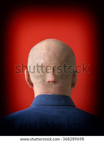 Man with A man with his eyes on the nape on nape - stock photo