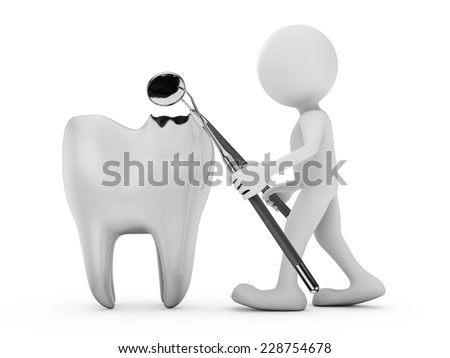 man with a medical instrument for examining destroyed tooth - stock photo