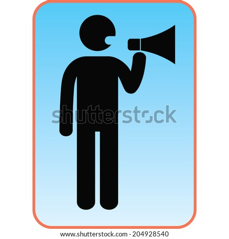 Man with a megaphone icon - stock photo