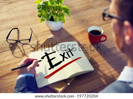 Man with a Note and Exit Concept - stock photo