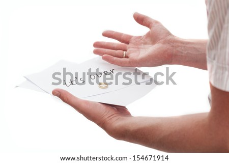 Man with a note from his wife saying it's over - stock photo