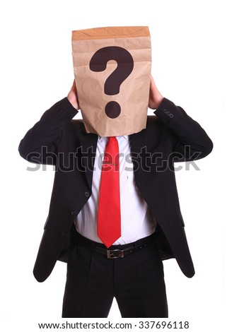 Man with a paper bag on head