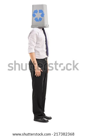 Man with a recycle bin over his head isolated on white background