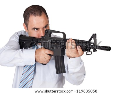 man with a rifle, image on a white background. - stock photo