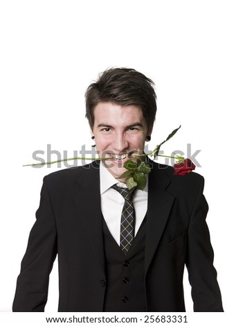 Man with a rose in his mouth