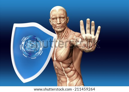 Man with a shield (anatomical vision) are protected from disease - stock photo