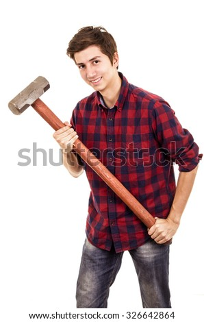 man with a sledgehammer on a white background - stock photo