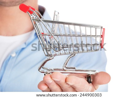 Man with a small shopping basket. Ecommerse concept