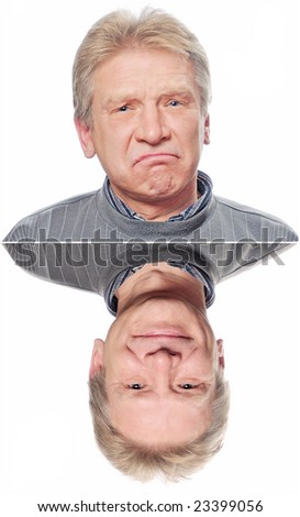 man with a smile and sad man - stock photo