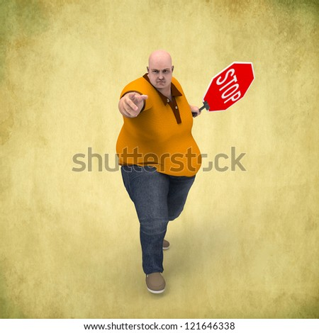 Man with a stop sign - stock photo