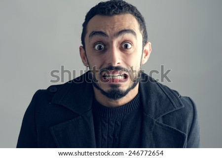Man with a surprised facial expression, Surprise, Man Screaming  - stock photo