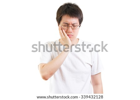 man with a toothache isolated on white background