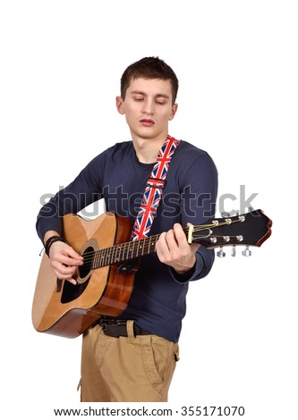 man with acoustic guitar on a white background