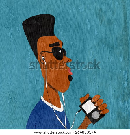 man with afro listening to music on wood grain texture - stock photo
