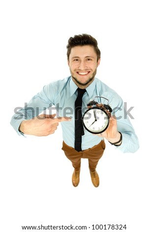 Man with alarm clock - stock photo