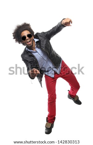 Man with an afro posing
