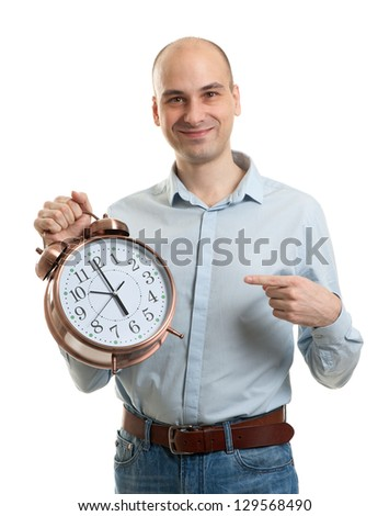 Man with an alarm clock - stock photo
