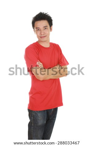 man with arms crossed, wearing red t-shirt isolated on white background.
