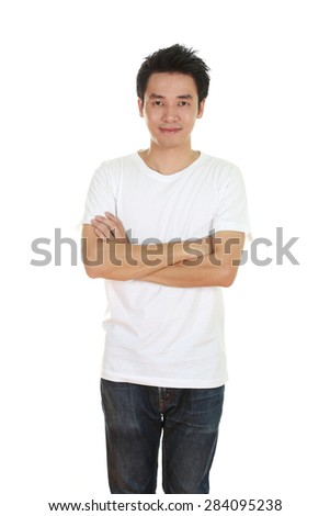 man with arms crossed, wearing t-shirt isolated on white background.
