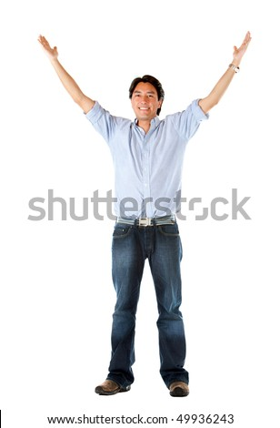 Man with arms up holding something - isolated over a white background - stock photo