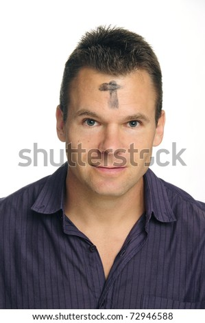 Man with ashes in form of cross on forehead