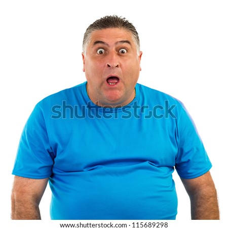 Man with astonished expression isolated on white