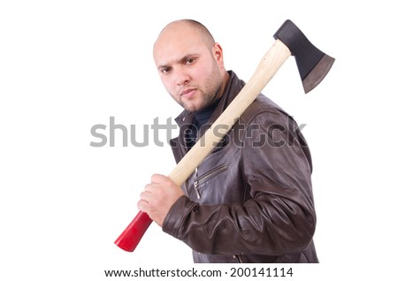 Man with axe isolated on white - stock photo