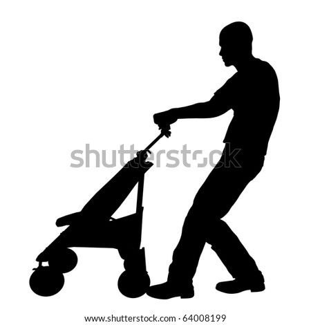 Man with baby stroller silhouette illustration