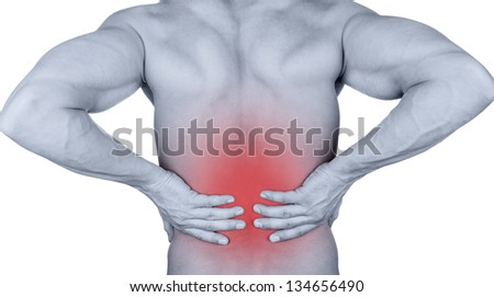 Man with backache isolated on white background