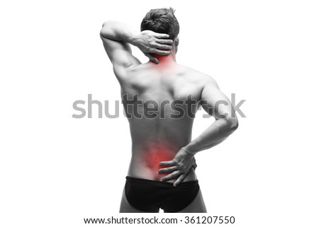 Man with backache. Pain in the human body. Muscular male body. Isolated on white background. Black and white photo with red dot - stock photo