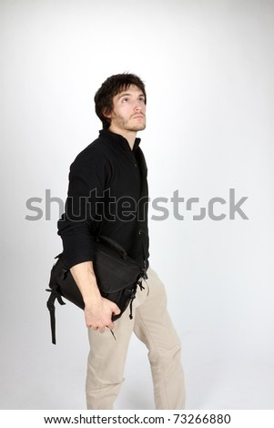 man with bag - stock photo