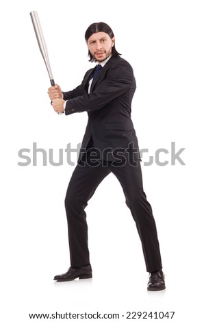Man with baseball bat isolated on white