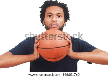 Man with basketball - stock photo