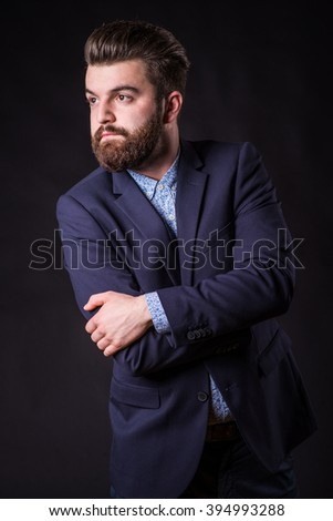man with beard in suit, homogeneous