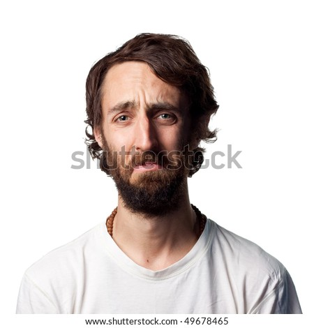 Man with beard is upset