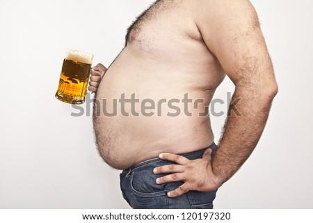 Man with beer mug - stock photo