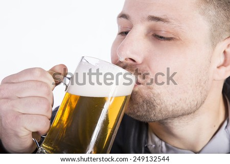 man with beer on white background