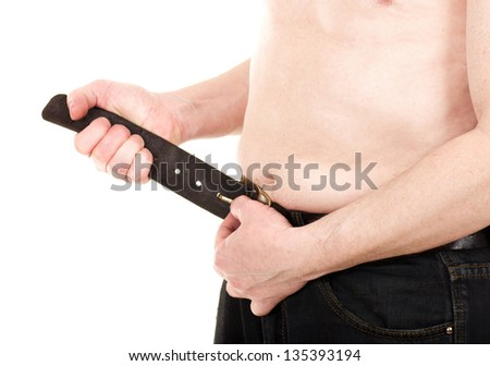 Man with beer stomach on white background - stock photo