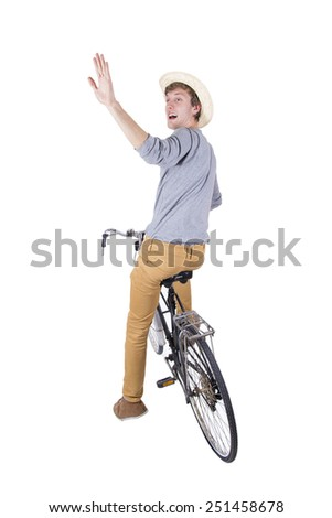 man with bicycle on white background - stock photo