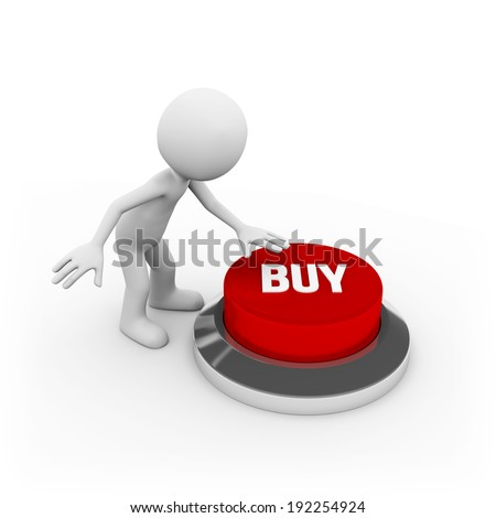 Man with big red buy button on white background