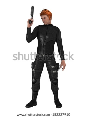 Man with black fighting suit