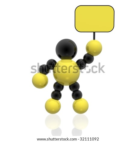 man with blank banner (yellow set) - stock photo