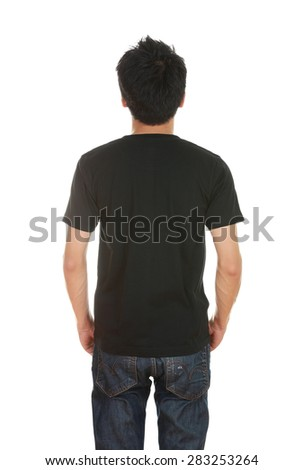 man with blank black t-shirt (back side) isolated on white background - stock photo