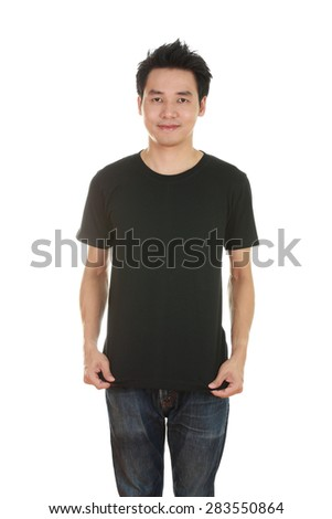 man with blank black t-shirt isolated on white background - stock photo