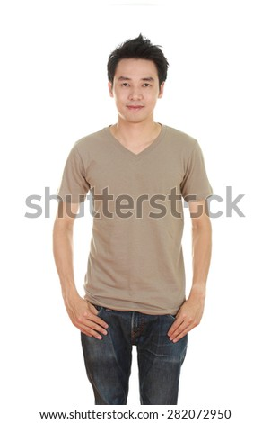 man with blank brown t-shirt isolated on white background