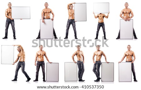 Man with blank poster on white - stock photo