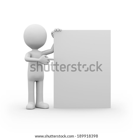 Man with blank signboard on white background - stock photo