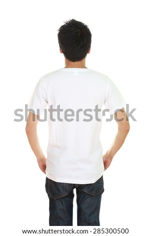 man with blank t-shirt (back side) isolated on white background - stock photo