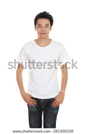 man with blank t-shirt isolated on white background - stock photo