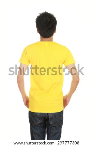man with blank yellow t-shirt (back side) isolated on white background - stock photo